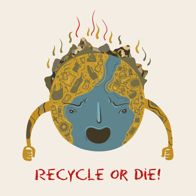 Planeta terra que se transformou em um depósito de lixo Vetor Premium