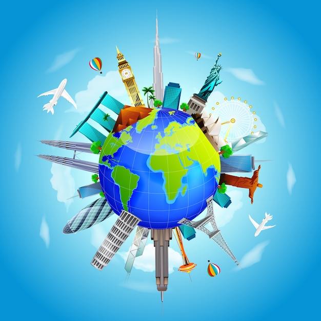 Planeta terra viajar o conceito do mundo no fundo do céu azul Vetor Premium