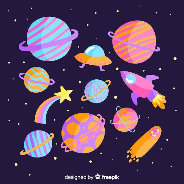 Planetas coloridos no pacote do sistema solar Vetor grátis