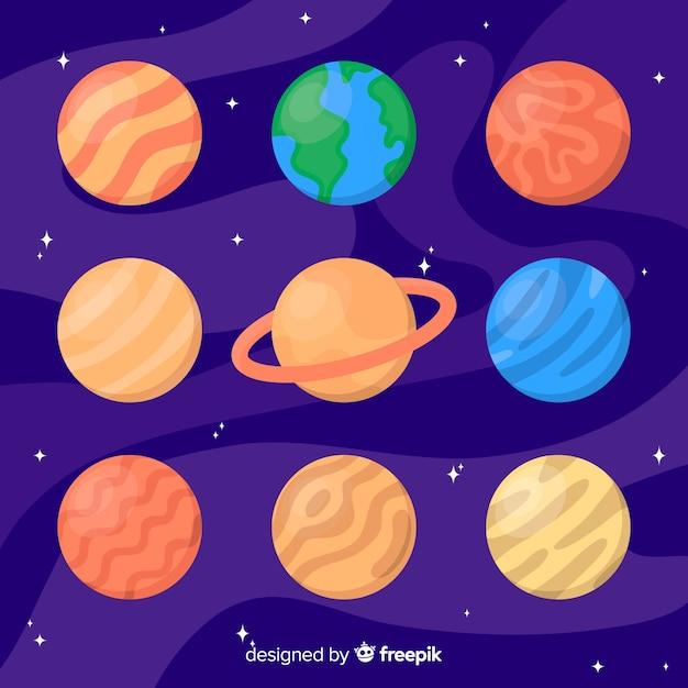 Planetas coloridos no sistema solar Vetor grátis