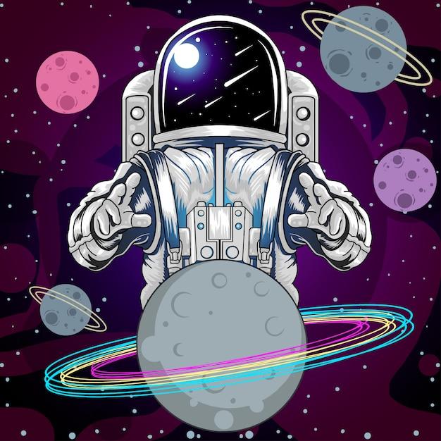 Planetas da estrela do espaço de astronout Vetor Premium
