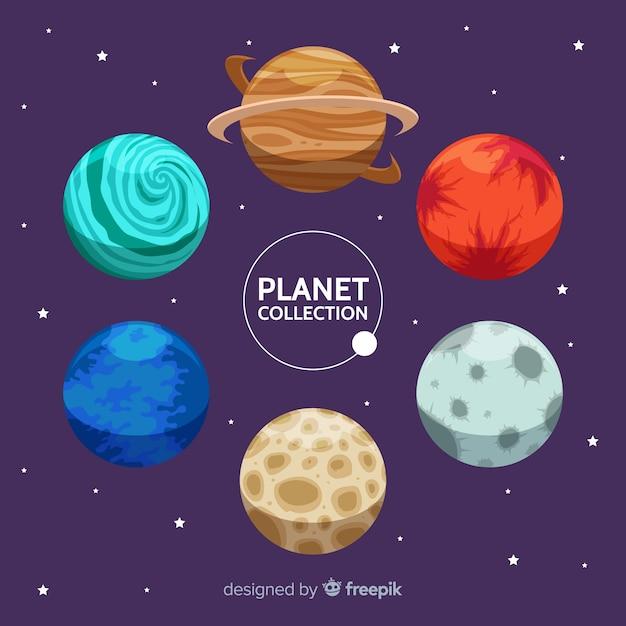 Planetas diferentes do conjunto do sistema solar Vetor grátis