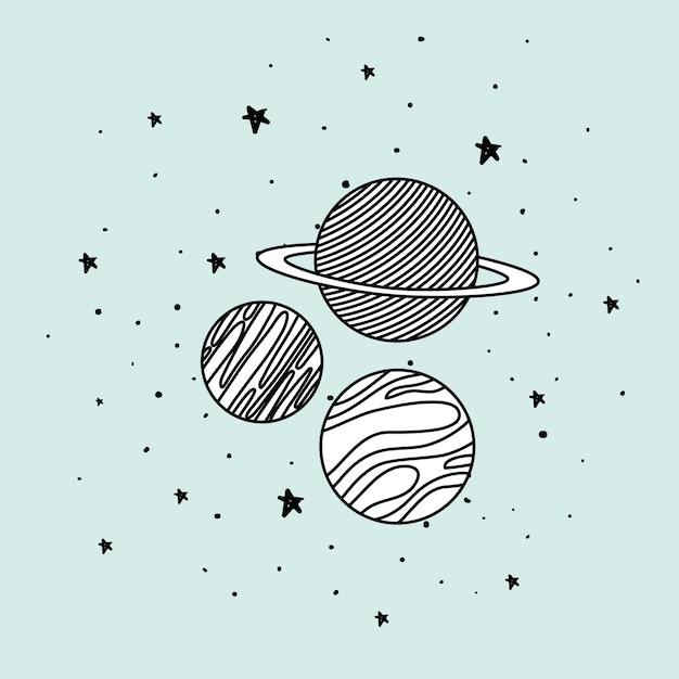 Planetas e estrelas no espaço Vetor Premium