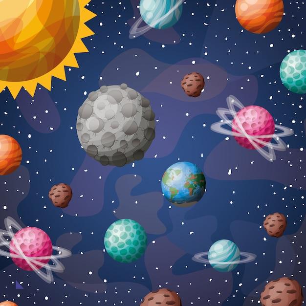 Planetas e sol do sistema solar Vetor grátis