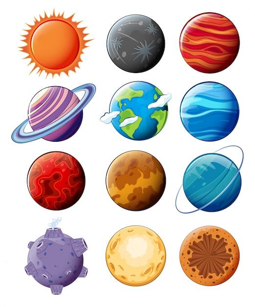 Planetas na galáxia Vetor grátis