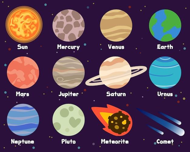 Planetas no sistema solar Vetor Premium
