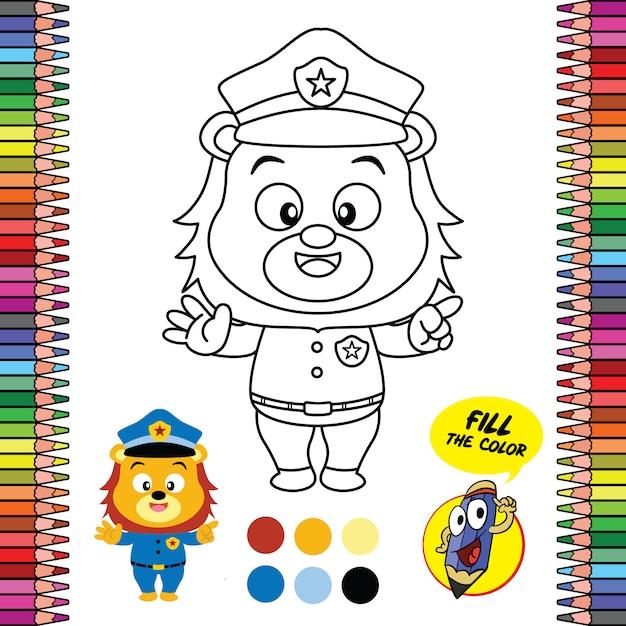 Planilha de página para colorir para impressão, jogos para cérebro de material escolar do policial leão Vetor Premium