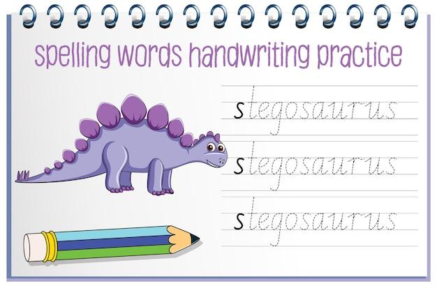 Planilha de prática de escrita à mão de dinossauro para soletrar palavras Vetor grátis