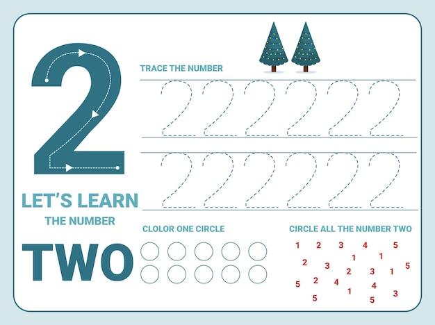 Planilha de prática de rastreamento número dois com 2 árvores de natal para crianças aprendendo a contar e escrever. planilha para aprender os números. Vetor Premium