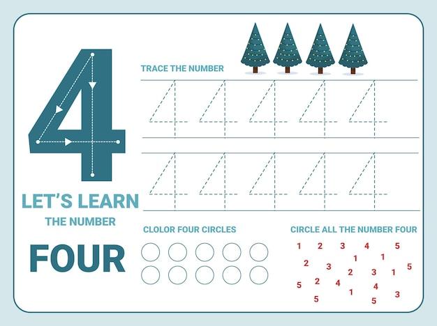 Planilha de prática de rastreamento número quatro com 4 árvores de natal para as crianças aprendendo a contar e a escrever. planilha para aprender os números. Vetor Premium