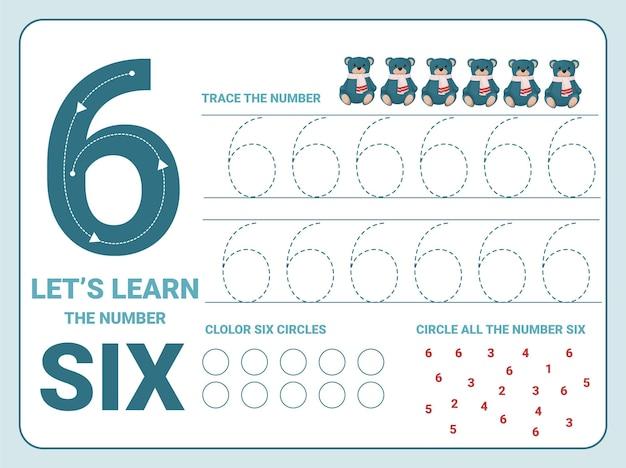 Planilha de prática de rastreamento número seis com 6 ursinhos de pelúcia de natal para crianças aprendendo a contar e a escrever. planilha para aprender os números. Vetor Premium