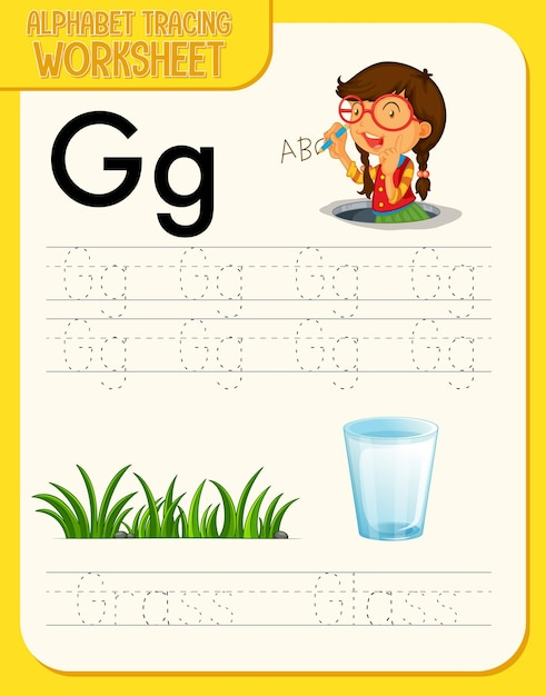 Planilha de rastreamento de alfabeto com letras e vocabulário Vetor grátis