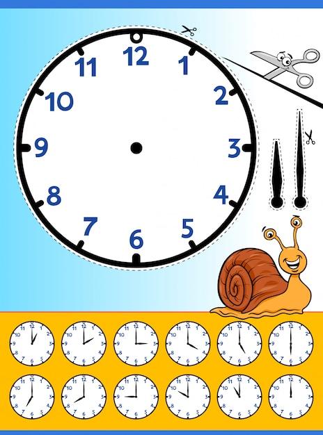 Planilha educacional de desenhos animados do relógio Vetor Premium