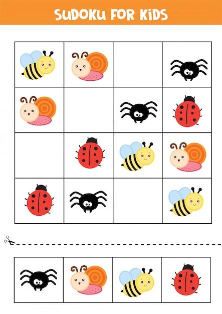 Planilha educacional para crianças prées-escolar. sudoku para crianças com insetos. Vetor Premium