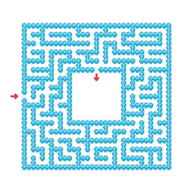 Planilha labirinto azul fácil Vetor Premium