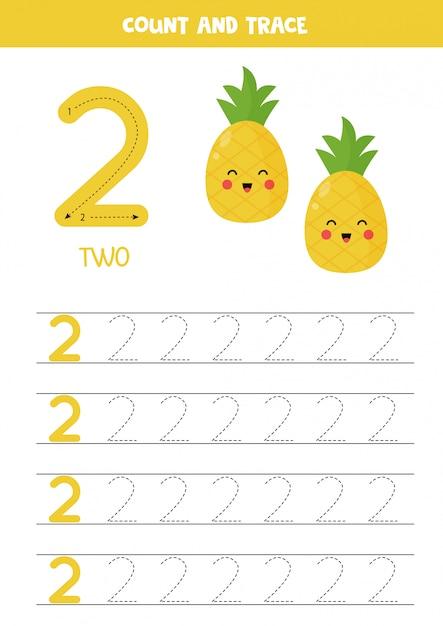 Planilha para aprender números com abacaxi bonitinho. número 2. Vetor Premium
