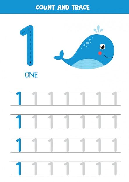 Planilha para aprender números com baleia do mar dos desenhos animados. número um. Vetor Premium