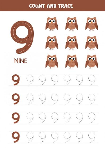 Planilha para aprender números com corujas bonitinha. número nove. Vetor Premium