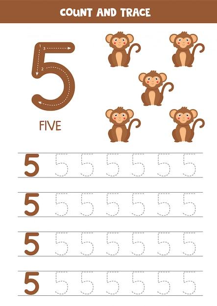Planilha para aprender números com elefantes fofos. número 5. Vetor Premium