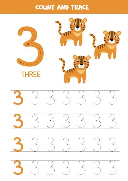 Planilha para aprender números com elefantes fofos. numero tres. Vetor Premium
