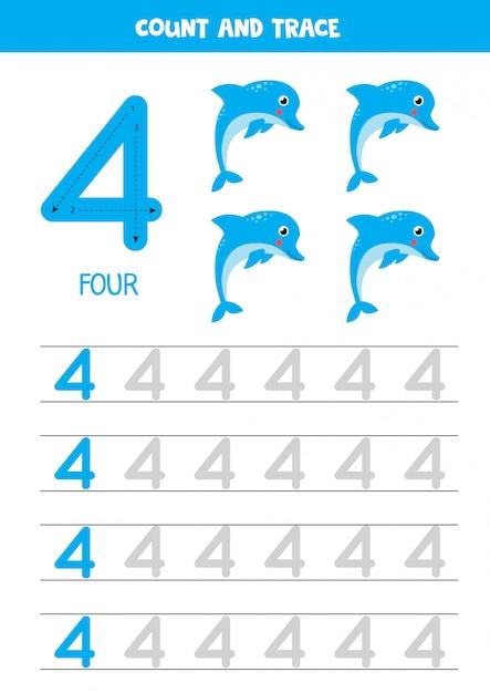 Planilha para aprender números com golfinhos dos desenhos animados. numero quatro. Vetor Premium