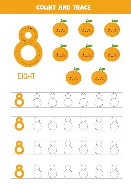 Planilha para aprender números com laranjas kawaii bonito. número 8. Vetor Premium