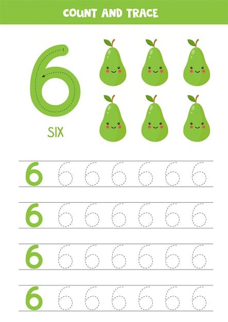 Planilha para aprender números com peras kawaii bonitos. número seis. Vetor Premium