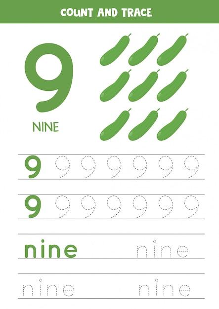 Planilha para aprender números e letras com pepinos dos desenhos animados. número nove. Vetor Premium