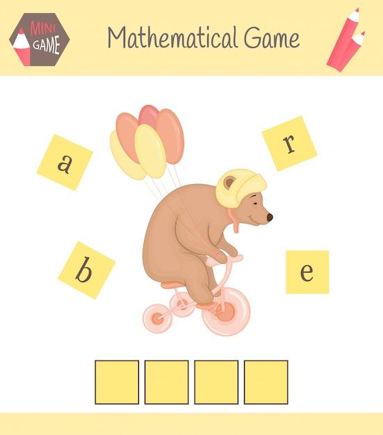 Planilha para crianças pré-escolares palavras jogo educativo para crianças. coloque as letras na ordem certa Vetor Premium
