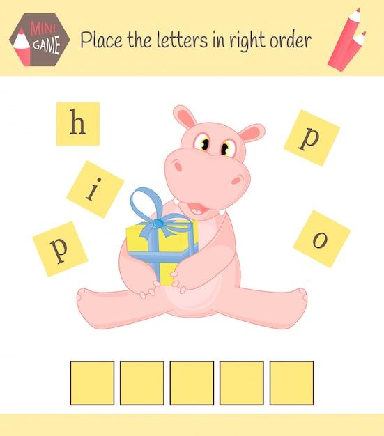 Planilha para crianças pré-escolares palavras jogo educativo para crianças Vetor Premium
