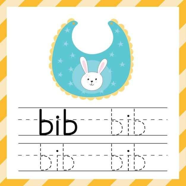 Planilha para rastreamento de palavras - bib. material de aprendizagem para crianças. eu posso escrever o modelo de palavras. folha de prática de rastreamento. ilustração vetorial Vetor Premium