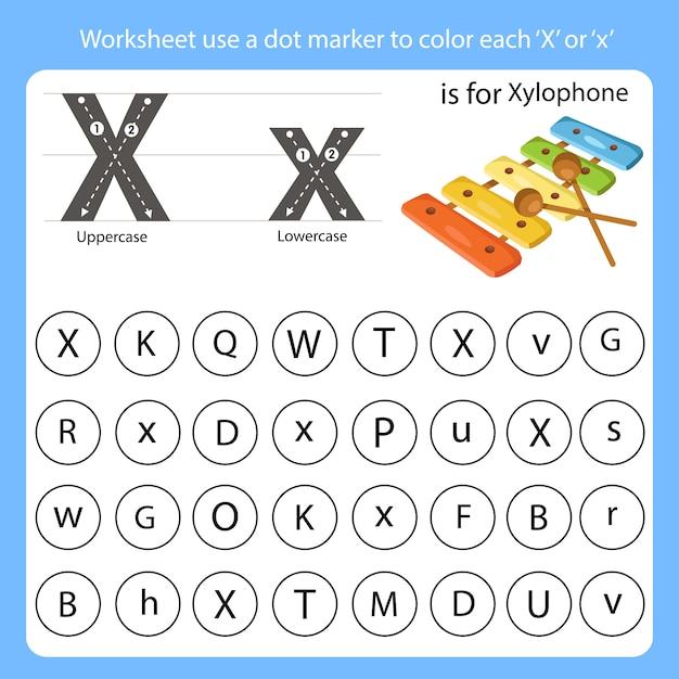 Planilha use um marcador de pontos para colorir cada x Vetor Premium