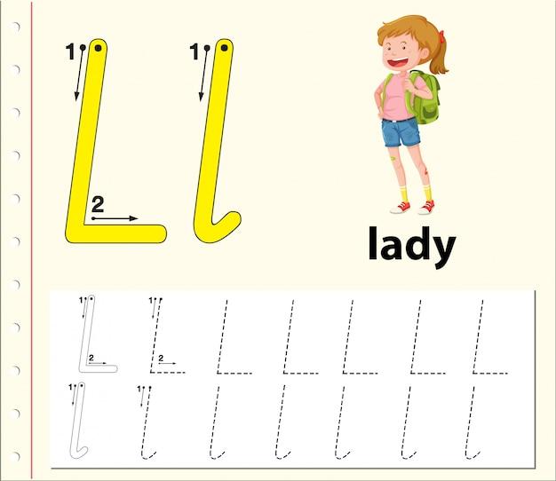 Planilhas de alfabeto de traçado da letra l Vetor Premium