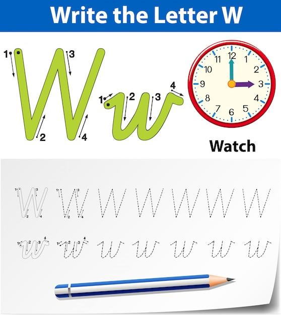 Planilhas de alfabeto de traçado da letra w Vetor Premium