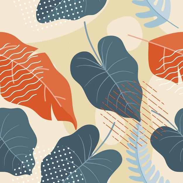 Plano abstrato sem costura padrão floral Vetor Premium