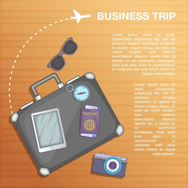 Plano de conceito de viagens, estilo cartoon Vetor Premium