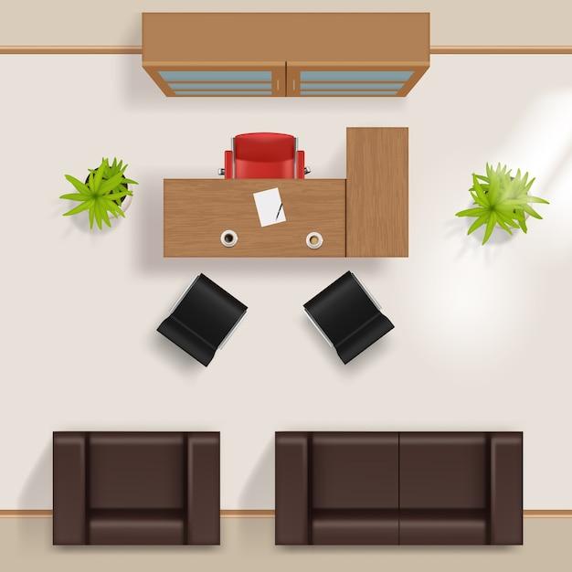 Plano de escritório. negócios modernos, construindo pisos de quarto de vista superior com móveis mesa mesa cadeiras janela guarda-roupa poltrona sofá vetor realista. planeje a sala interior, veja a ilustração da cadeira da mesa do projeto Vetor Premium