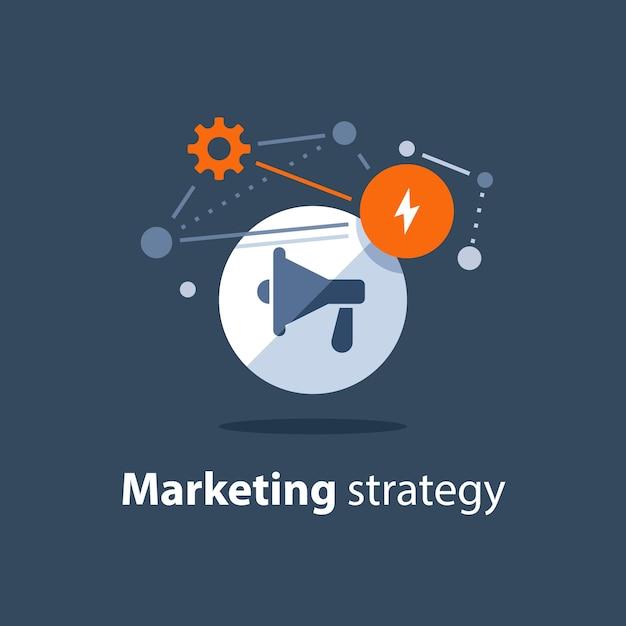 Plano de estratégia de marketing, ícone de megafone, anúncio de atenção, conceito de relações públicas Vetor Premium