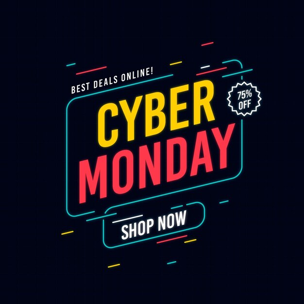 Plano de fundo cibernético de segunda-feira Vetor Premium
