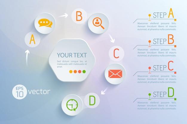 Plano de fundo com a composição do círculo do fluxograma da interface virtual do chat redondo e ícones de troca de e-mail, parágrafos de texto, ilustração Vetor grátis