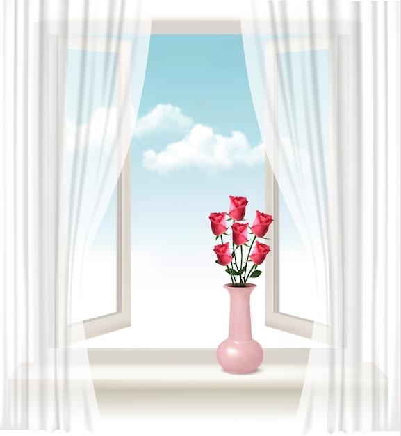 Plano de fundo com uma janela aberta e um vaso com rosas. Vetor Premium