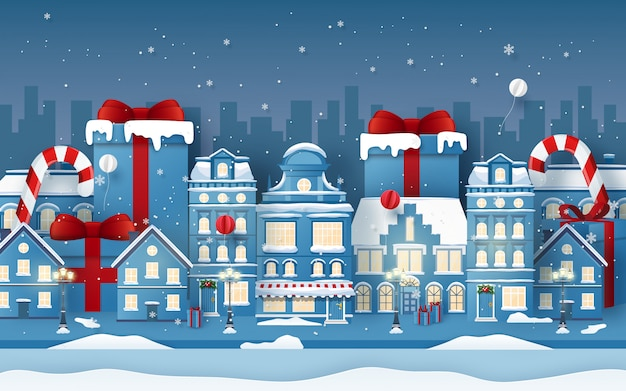 Plano de fundo da cidade urbana com presente de natal na temporada de inverno Vetor Premium