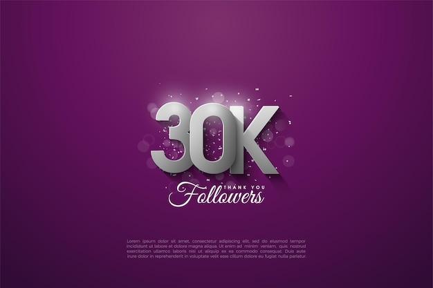 Plano de fundo de 30 mil seguidores com figuras prateadas sobrepostas em um fundo roxo. Vetor Premium