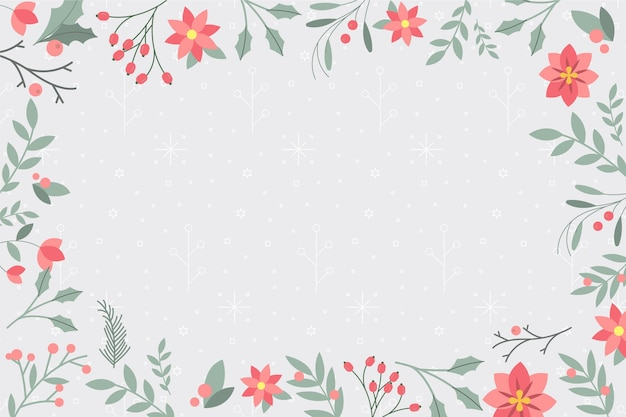 Plano de fundo de inverno com plantas e folhas Vetor Premium