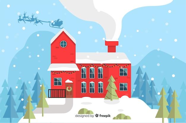 Plano de fundo de natal com casa pronta para o natal Vetor grátis