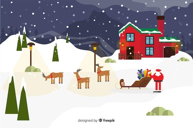 Plano de fundo de natal com papai noel e renas Vetor grátis
