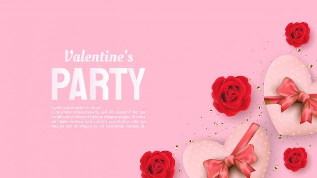 Plano de fundo dia dos namorados com ilustrações de rosas vermelhas e caixas de presente em forma de amor. Vetor Premium