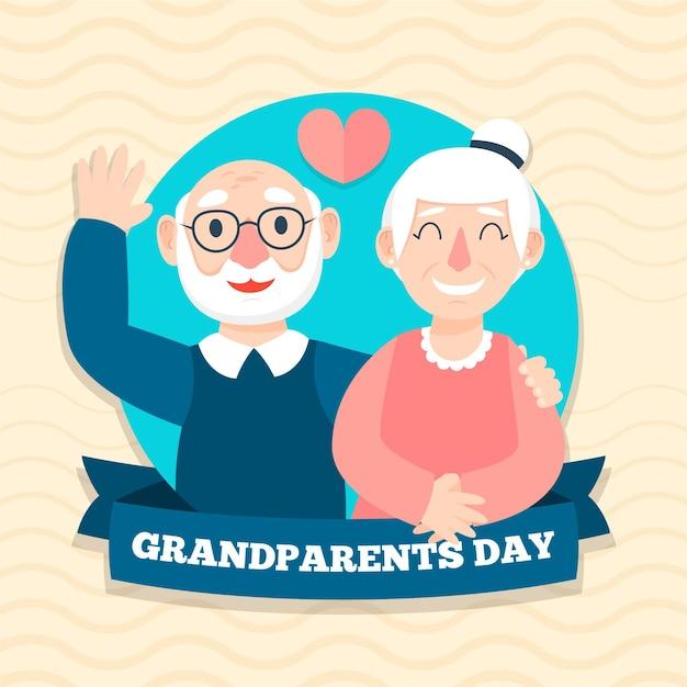 Plano de fundo dia nacional dos avós design plano Vetor grátis