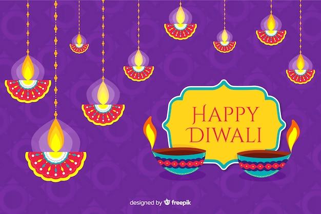 Plano de fundo diwali e velas suspensas Vetor grátis