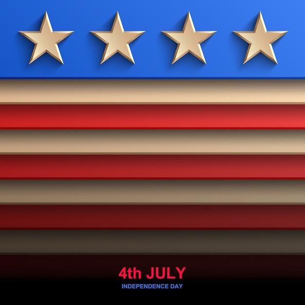 Plano de fundo do dia da independência americana, bandeira americana, Vetor Premium